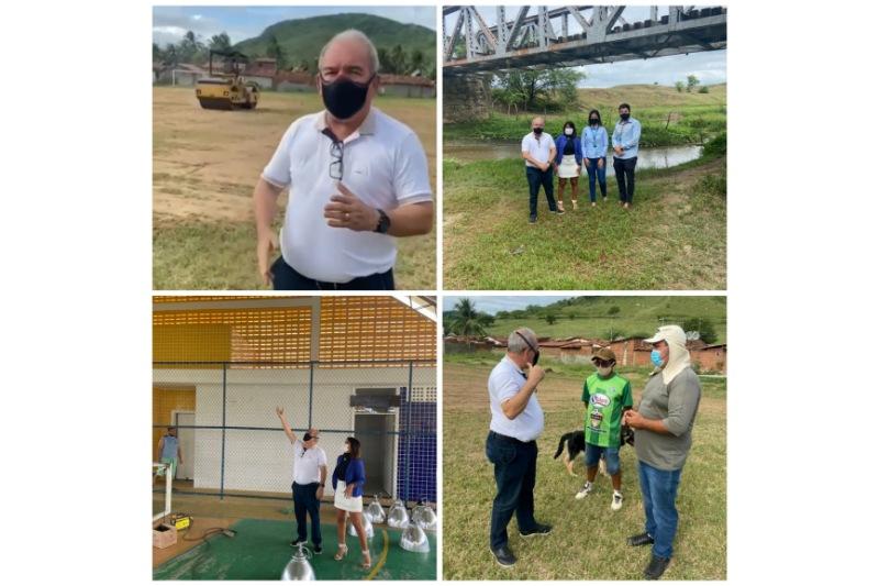 Sexta-feira de trabalho e ações do prefeito Robério: Quadra de esportes, cozinha escola e campo do América