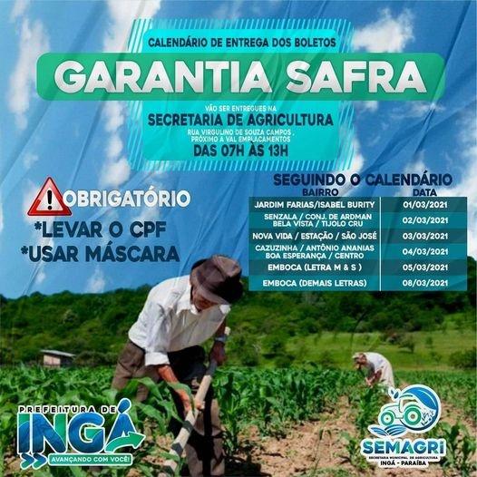 Sec. Agricultura distribui boletos do seguro safra a partir desta 2ª feira separadamente por bairros a cada dia da seman